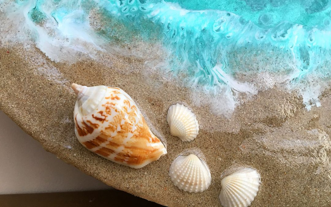 Easy epoxy resin beach art, using real sand!