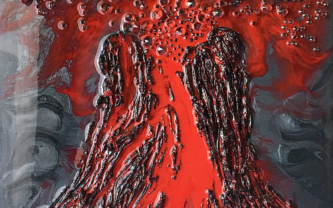 Epoxy Resin Volcano Lava Flow Art